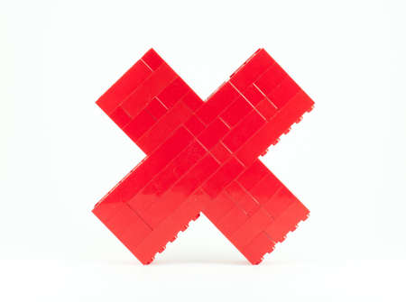 stack of red toy pieces to the calculate time sign Stock Photo - 12686380