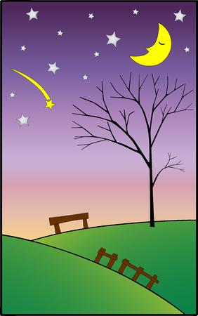 sleeping moon and falling star vector illustrator
