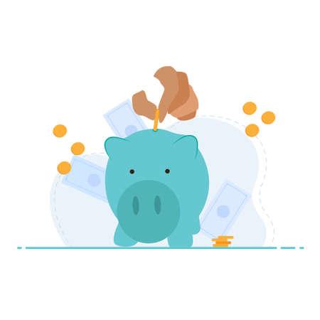 Saving money in piggy bank. Money management business concept. Иллюстрация