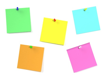pin board: Sticker note isolated on white background