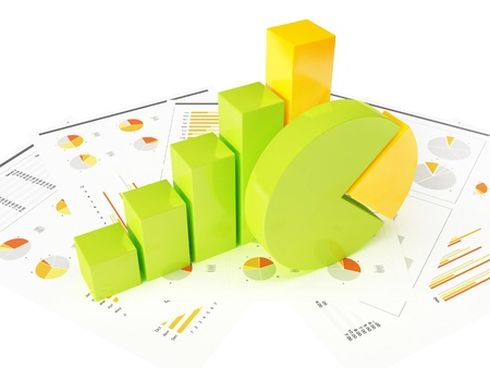 migration: Business graph with chart Stock Photo