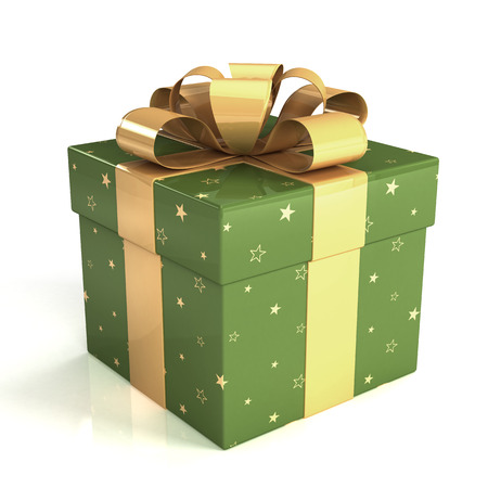 green gift box with gold ribbon bow