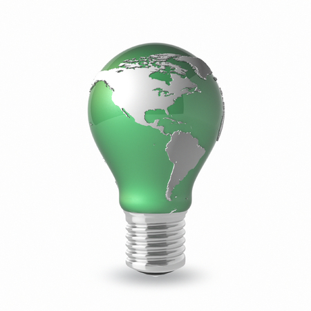Light Bulb with Earth Globe on a white background photo