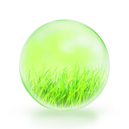 glass ball green grasses