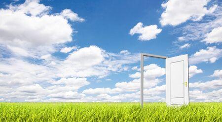 Door and grassland