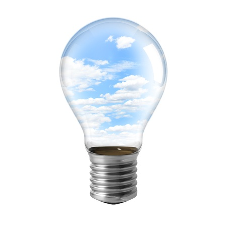 Electric light bulb and sky