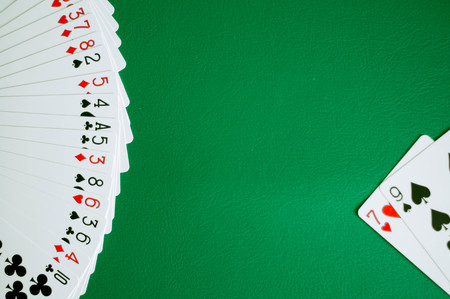 poker card copy space in green background