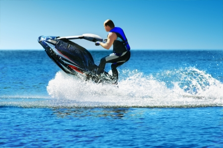 jetski: Man on jet ski Stock Photo