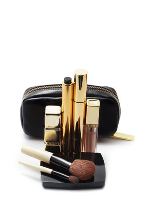 vanity bag: Cosmetics isolated on white