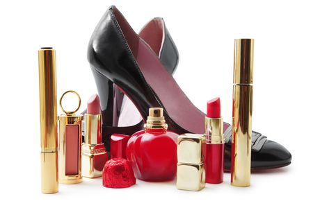 Lady shoes and cosmetics photo