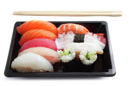 Sushi lunch box isolated on white photo