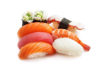 Sushi isolated on white background photo