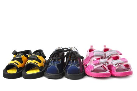 Baby shoes isolated on white photo