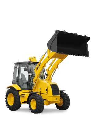 grader: New yellow digger on  white