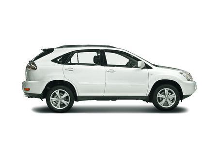 ruedas de coche: White SUV aislados en blanco
