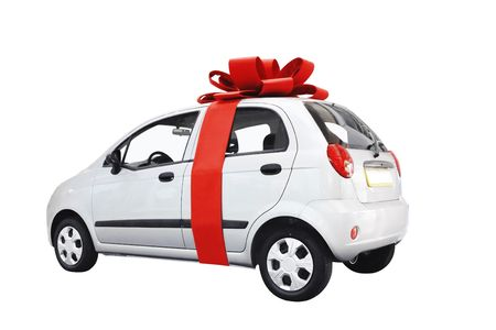 Car with bow isolated on white