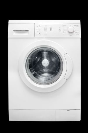 Washing machine on a black background