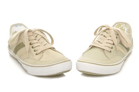 shoestrings: Sneakers isolated on a white background