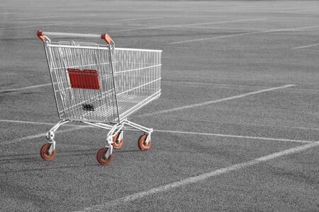 grocery cart: Shopping cart in a store parking lot Stock Photo