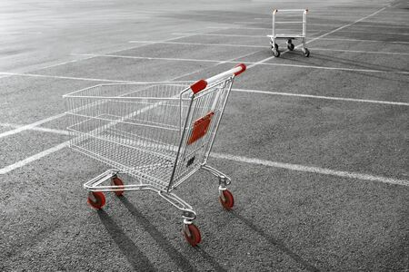 Shopping cart in a store parking lot Stock Photo - 6610948