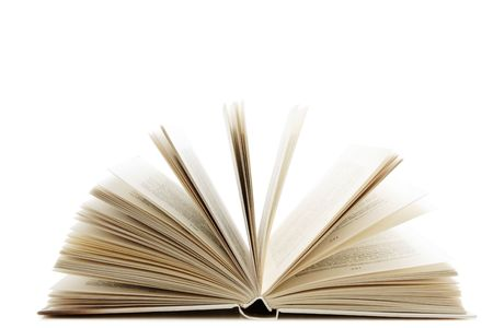 prose: Open book isolated over white background Stock Photo