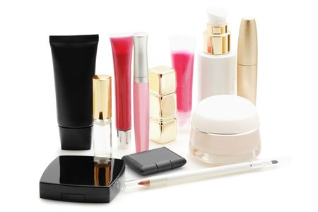 cosmetics collection: Cosmetics isolated on  white  Stock Photo