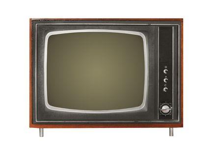 television antigua: TV antigua sobre un fondo blanco