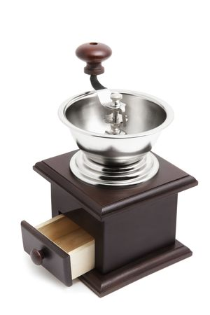 Coffee grinder isolated over white background photo