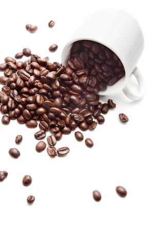 Coffee beans and cup photo