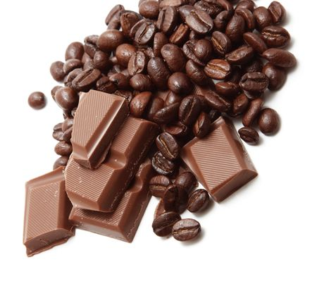 cocoa bean: Chocolate and coffee beans isolated on white