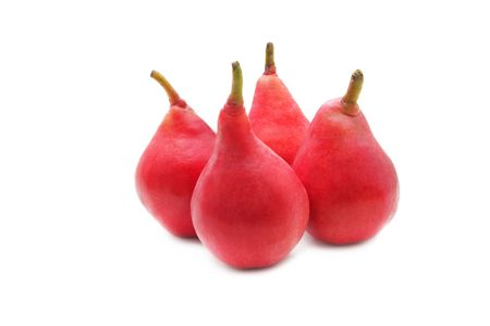 asian pear: Red pears isolated on white