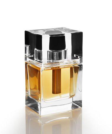 Perfume bottle isolated on white photo