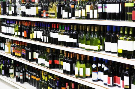 supermarket shelves: Wine shop