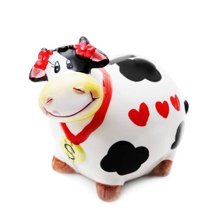 sacre coeur: Argent bo�te vache isol� sur fond blanc
