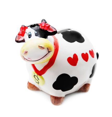 sacred heart: Money box cow isolated over white background Stock Photo