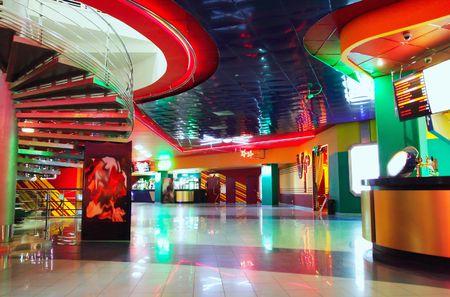 entrance hall: Neon lights Stock Photo