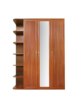 Wooden wardrobe isolated over white Stock Photo