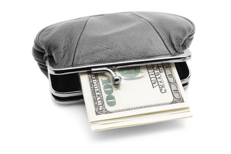 Purse with cash isolated over white background photo