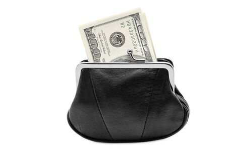 change purse: Purse with cash isolated over white background