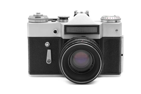 viewfinder vintage: Old camera isolated over white background Stock Photo