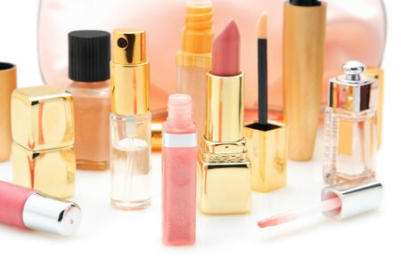 cosmetics collection: Cosmetics isolated on a white background Stock Photo