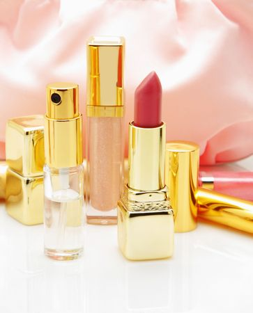 Cosmetics isolated over white background photo