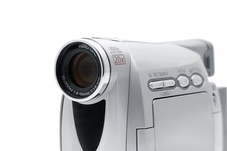 Camcorder isolated on a white background photo