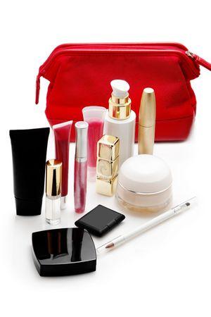 Cosmetics isolated over white background photo