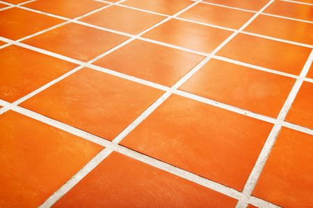 terracotta: Ceramic tiled floor Stock Photo