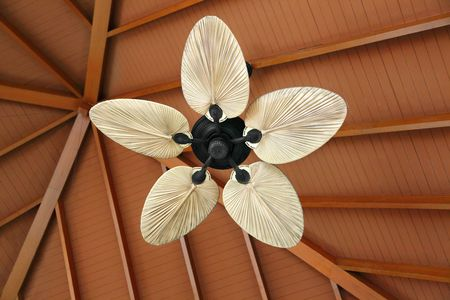 Ceiling fan under a wood roof photo