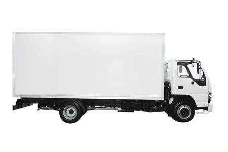 carga: Cami�n de carga, aislado sobre fondo blanco Foto de archivo