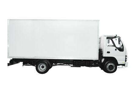 laden: Cargo-LKW, die isoliert auf wei�em Hintergrund  Lizenzfreie Bilder