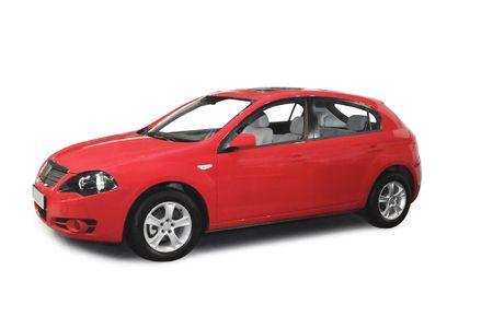 Rode auto geïsoleerd op een witte achtergrond