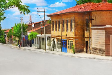 Old street and houses in Turkey photo
